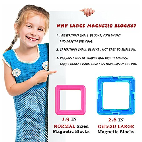 Gifts2U Magnetic Building Blocks Set-152PCS Creative Magnetic Tiles Building Kit Preschool Educational Construction Kit Magnet Stacking Toys for Kids Toddlers Boys Girls by Gifts2U (Image #8)