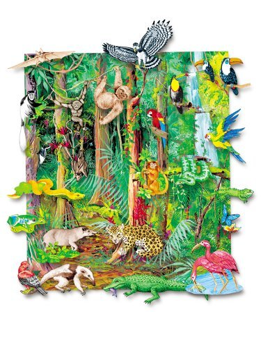 Little Folk Visuals Felt Fun: Jungle Animals Precut Flannel/Felt Board Figures with 13x15 Inches Mounted Playboard, 23 Pieces Set ()