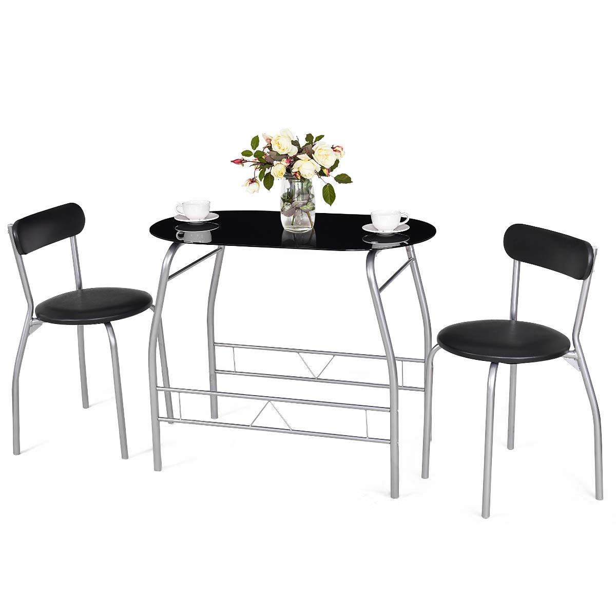 Tangkula 3 Piece Dining Set Modern Metal Frame Glass Top Table and 2 Chairs Set Home Kitchen Bistro Pub Breakfast Furniture, Black and Silver by Tangkula