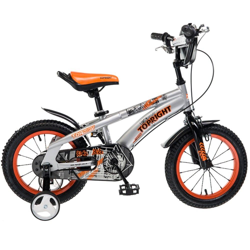 HAIZHEN マウンテンバイク 子供用の自転車、トレーニングホイール付きユニセックス子供用自転車、様々なトレンディな機能、12,14,16および18インチ、おしゃれな男の子と女の子のための贈り物 新生児 B07C41WBG7 12 inch|オレンジ オレンジ 12 inch