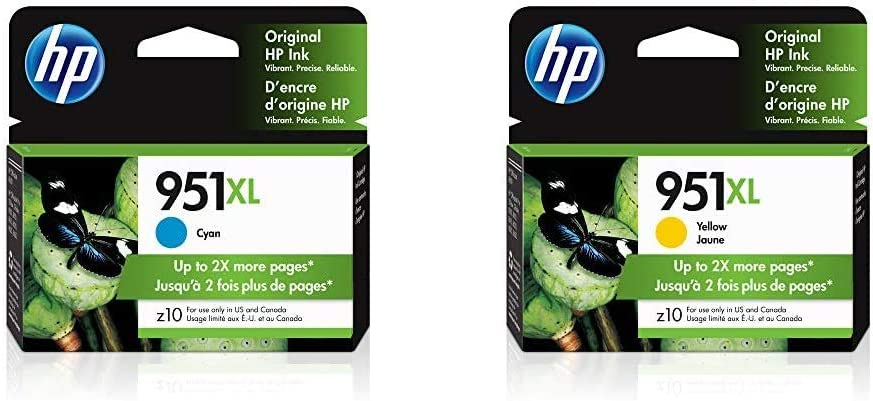 HP 951XL | Ink Cartridge | Cyan | CN046AN & 951XL | Ink Cartridge | Yellow | CN048AN