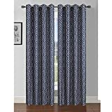 Window Elements Camille Printed Faux Silk 76 x 84 in. Grommet Curtain Panel Pair, Indigo/Linen For Sale