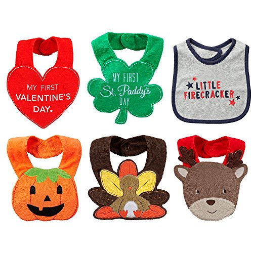 [Carters 6-Item Bundle: First Holiday Bib Set] (Noahs Ark Baby Bear Costume)