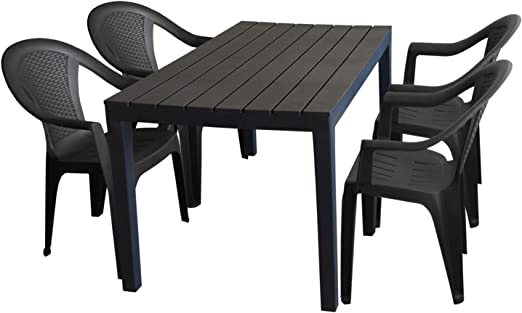 Tavolo Giardino Plastica Sedie.5tlg Tavolo Da Giardino Salotto Da Giardino Sumatra Effetto