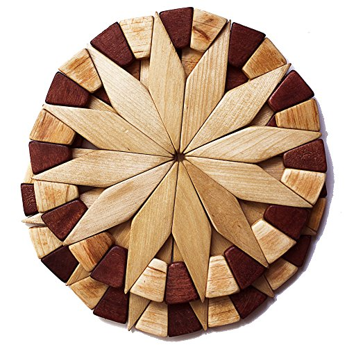 Natural Wood Trivets For Hot Dishes - 2 Eco-friendly, Sturdy and Durable Kitchen Hot Pads. Handmade Festive Design Table Decor - Perfect Kitchen Gifts Idea.