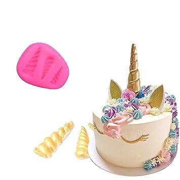 CHICTRY - Juego de 2 moldes de silicona para decoración de tartas, diseño de unicornio arcoíris en 3D, para decoración de tartas y pasteles: Amazon.es: ...