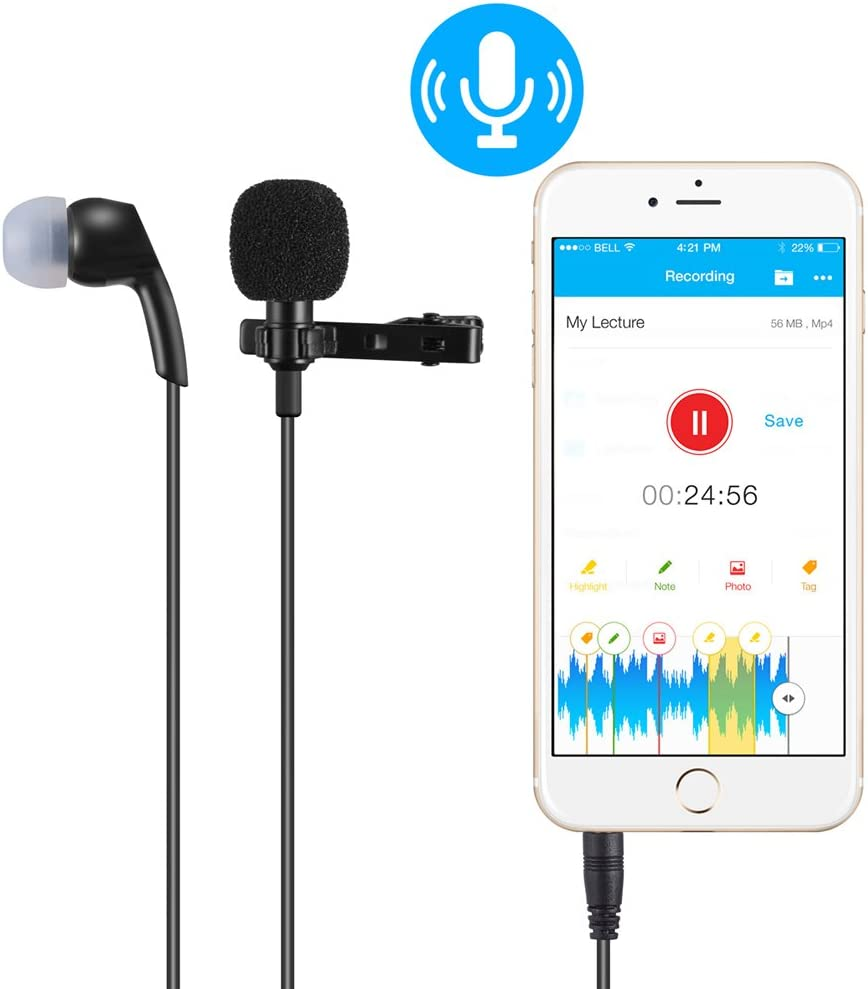 iPad smartphones Android et Windows PChero dual-headed lavalier clip-on microphone omnidirectionnel condensateur pour Apple iPhone iPod Touch