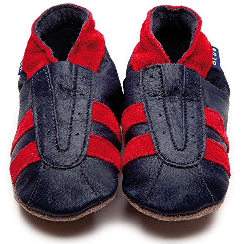 Inch Blue Krabbelschuhe Sports Navy/Red Suede, Child Small