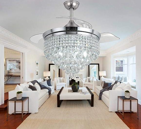 Retractable Fandelier Ceiling Fan Light Fixture