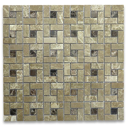 Emperador Light Marble Target Pinwheel Mosaic Tile Emperador Dark Dots Polished