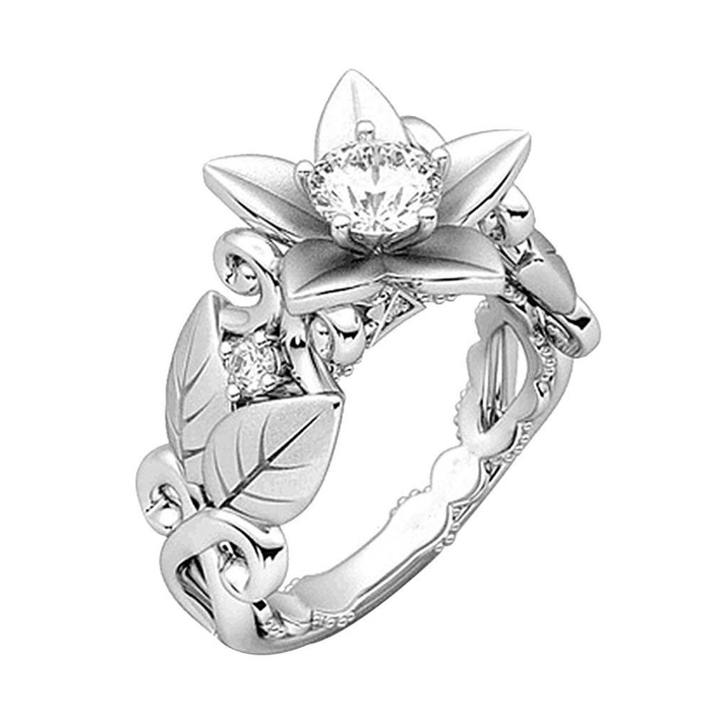 Women's Leaf Floral Zircon Diamond Jewelry Gift Eternity Engagement Rings Size 6-10 (8, Silver)