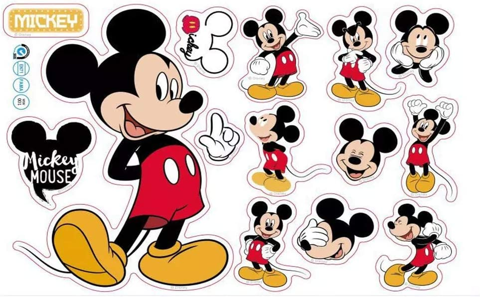 SchwartsCount Mickey Mouse 13pcs Wall Decals for Kids Baby Bedroom Nursery, Disney Mirror Window Walls Stickers Removeable Vinyl Cartoon Peel and Stick 20 x 30 cm (1490A)