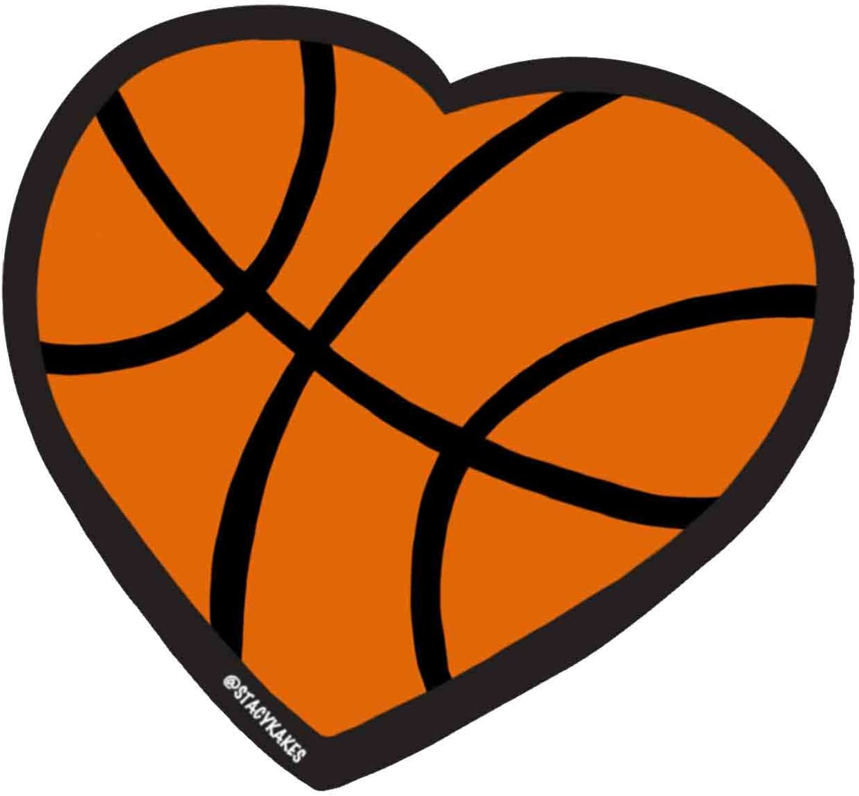 Basketball Heart Decal - for Cars, Laptops, and More! - Use Inside or Outside - Sicks to Any Flat Smooth Surface