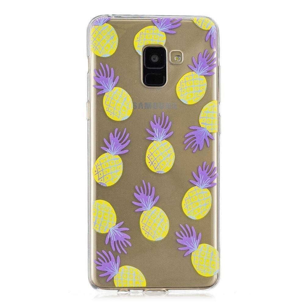 Fine Finet Samsung Galaxy A8 Plus 2018 Funda, Transparente Suave TPU Silicona Flexible Gel Funda Resistente a los Arañ azos Anti Choque Protectora Case (Hoja de banana)