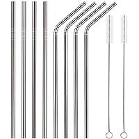 YIHONG Reusable Metal Straws Set of 8 Stainless Steel Straws