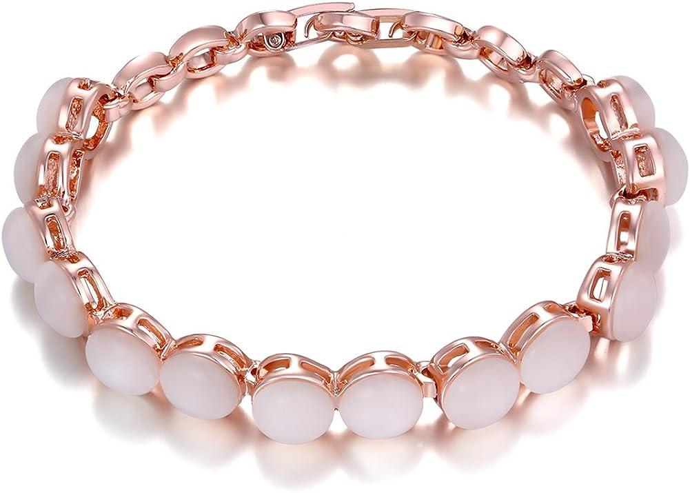 YLR 18K Rosa Chapado en oro caliente venta moda mujeres joyas pulsera de piedras semipreciosas, 8estilo pulseras a elegir