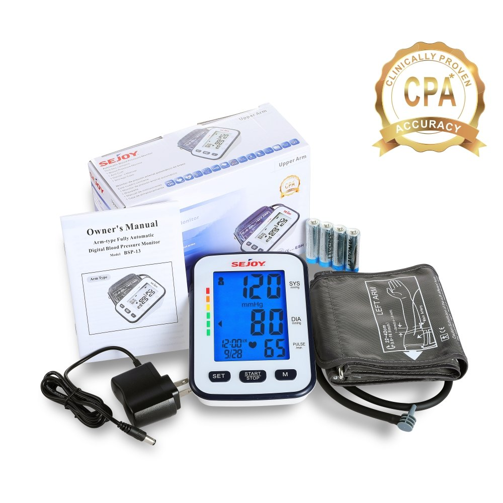 Automatic Blood Pressure Monitor, Upper Arm, Extra Large Digital Screen, Easy to Use, Standard and Large Universal Arm Cuff, Batteries Included, SEJOY BSP-13 Series