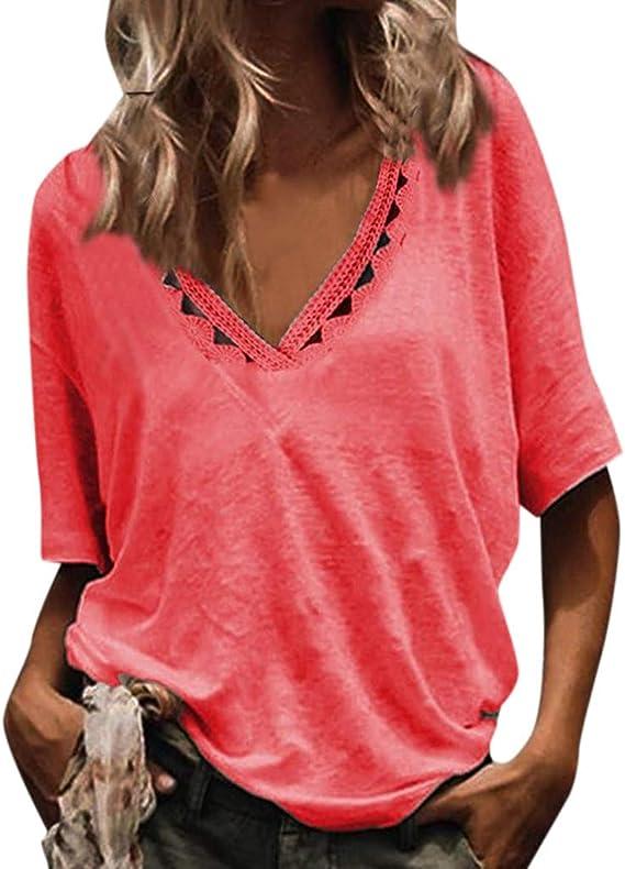 Lurcardo Camisetas Mujer, 2019 Camisas Mujer Blusas para Verano Sexy Deportes Moda con de Casual Camiseta