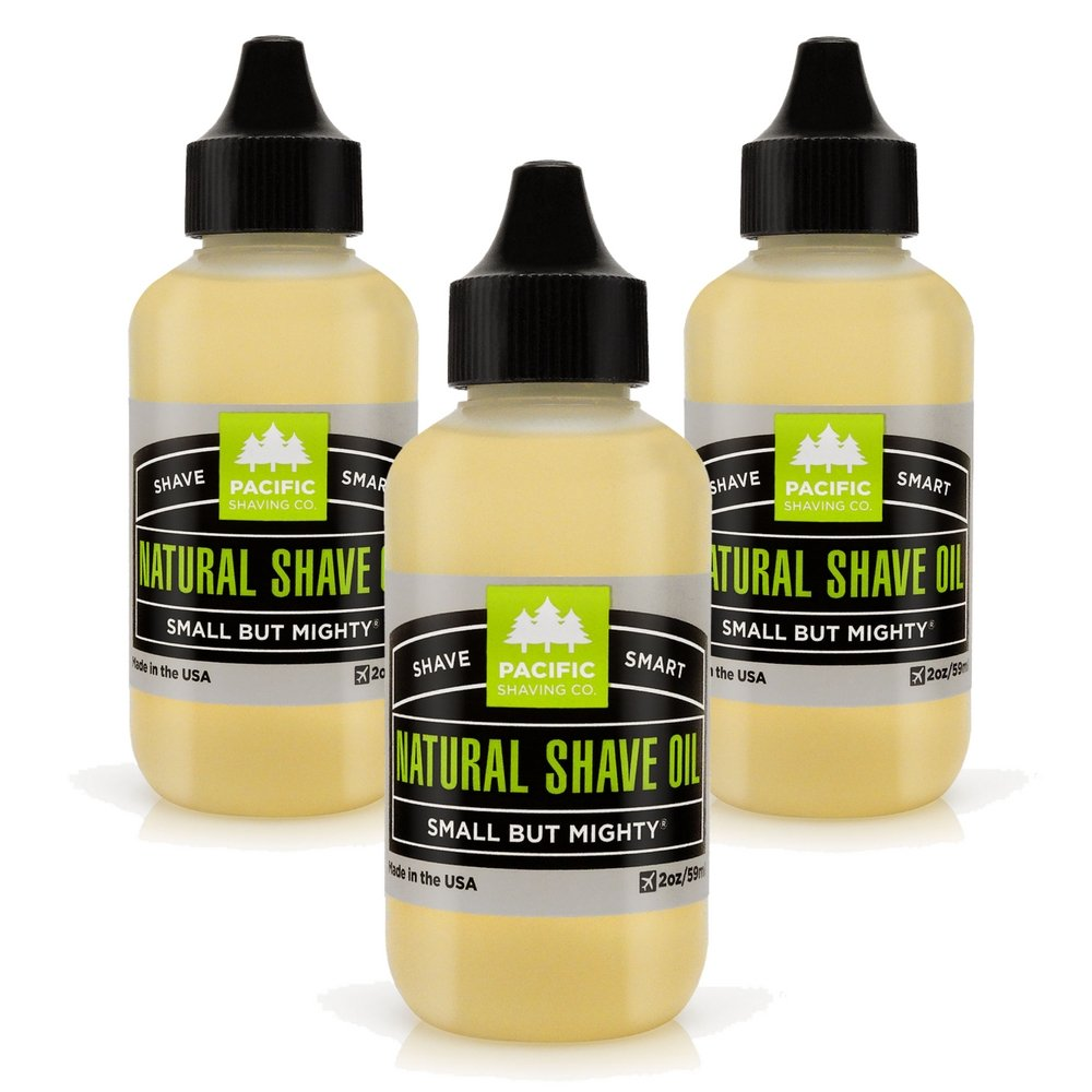 Pacific Shaving Company Natural Shaving Oil - Eliminates Cuts, Nicks, Razor Burn, Soothes & Moisturizes Skin, Reduces Irritation, with Safe, Natural & Organic Ingredients, Made in USA, 2 oz (3-Pack)