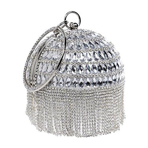 GODW Damas Bola Redonda Bolso De Embrague Borla Diamante Vestido De Noche Anillo De Metal Muñequera Bolso Monedero Silver