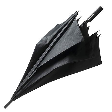 Hugo Boss Grid Golf Paraguas clásico, 130 cm, Negro (Black)