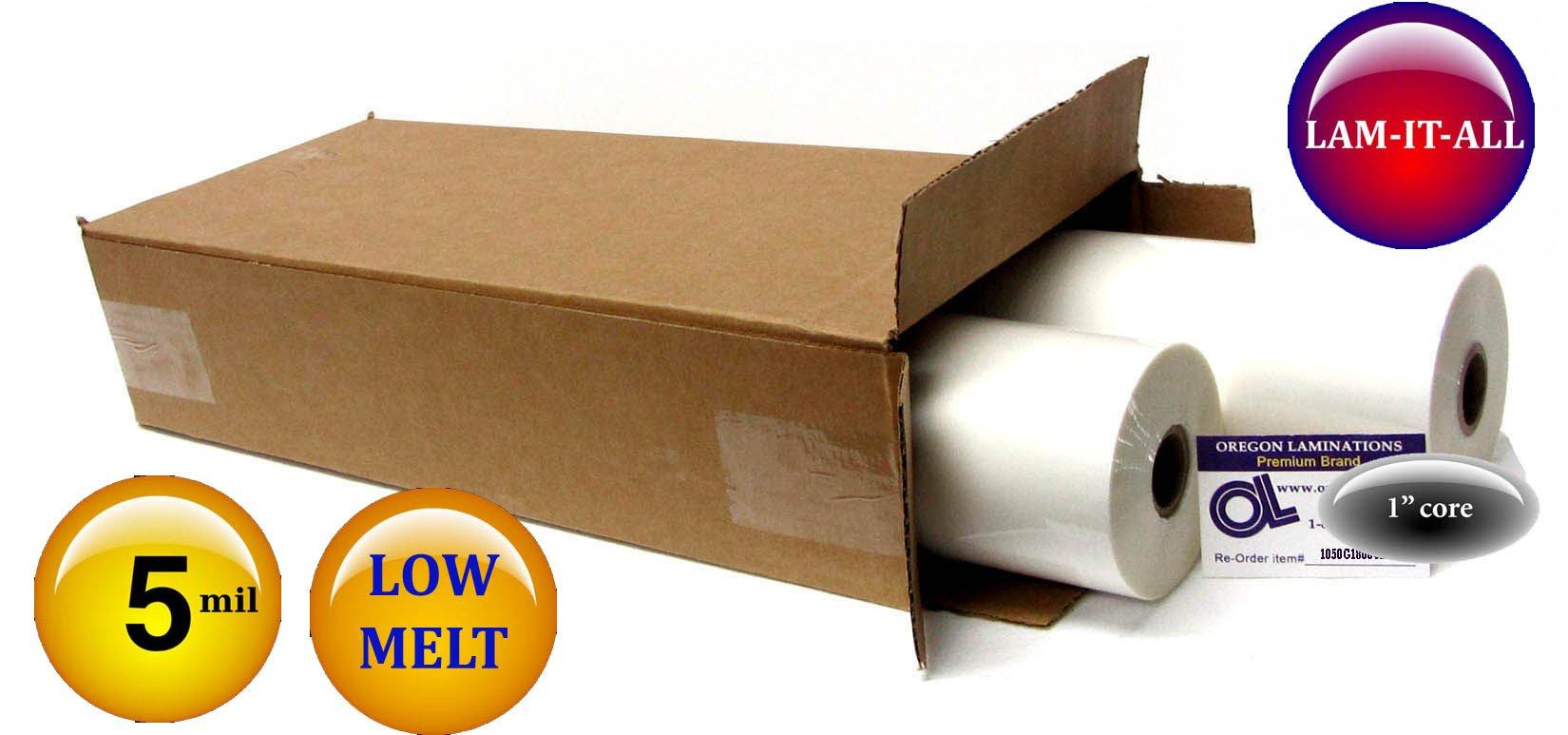 LAM-IT-All Low Melt Laminating Film 18-inch x 200-feet x 1-inch core (4 Rolls) 5.0 Mil Gloss