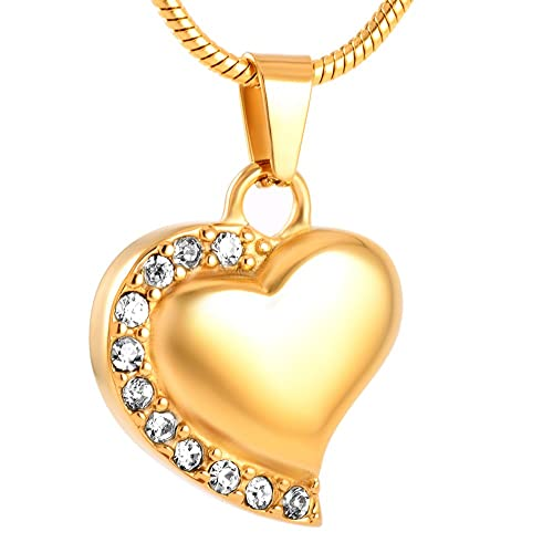 constantlife Forever in My Heart Love Charm Necklace for Loved One Ashes Keepsake Urn Necklace Stainless Steel Cremation Jewelry