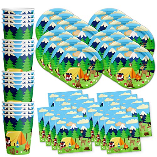 Camping Adventure Birthday Party Supplies Set Plates Napkins Cups Tableware Kit for 16 by Birthday Galore