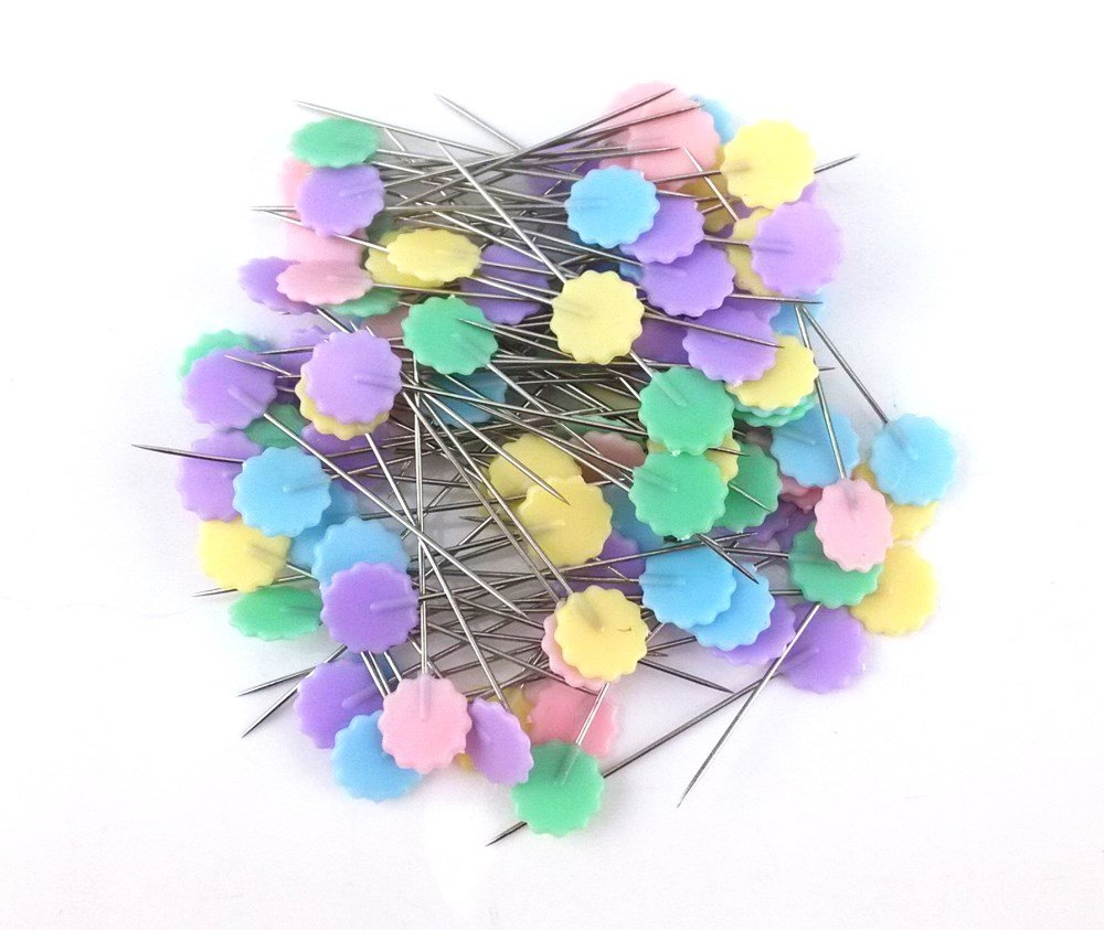 yueton 100pcs Flower Head Quilting Pins Straight Decorative Pins