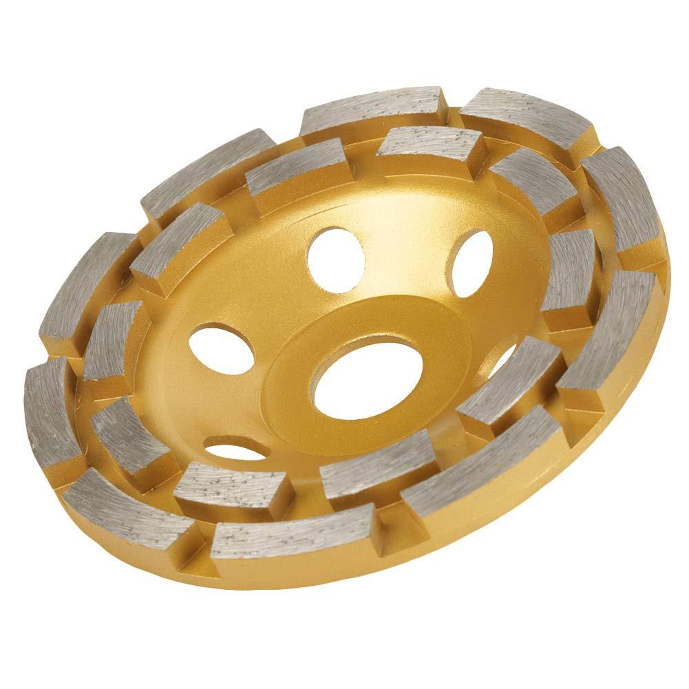 Zweireihig Diamant Schleiftopft Schleifscheibe universal doppelreihig gelb Diamantschleiftopf f/ür Marmor Beton Stein Keramik Bauwesen 125 x 22.23mm