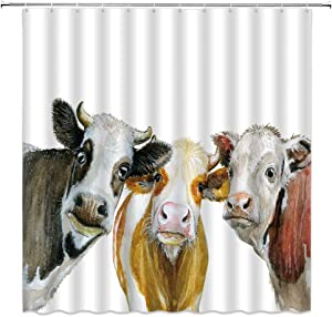 BSTDS Watercolor Cow Shower Curtain Milk Cow Colorful Farmhouse Animal Pattern Painting Art Bathroom Curtains Decor Polyester Fabric Quick Drying 70x70 Inches Include Hooks