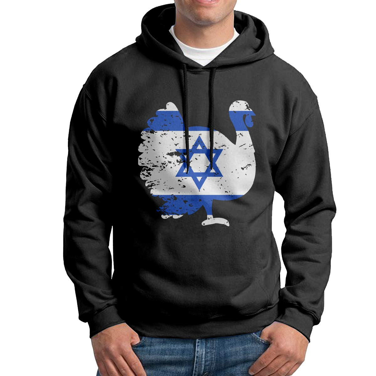 Men Pullover Hoodies Patriotic Turkey Israel Flag Long Sleeve Fleece Hooded Sweatshirt Sweater Blouses Tops