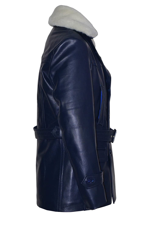 'GERMAN PEA COAT' Navy Furr Men's Classic Reefer Military Hide Leather Jacket
