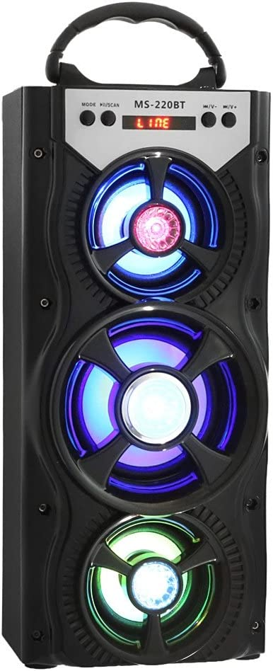 220BT Bluetooth Portable Speaker With AUX USB TF FM Radio Colorful LED Light