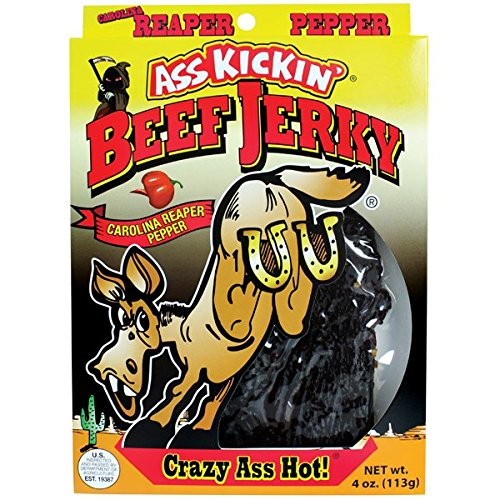 ASS KICKIN' Carolina Reaper Beef Jerky - Premium Quality Spicy Beef Jerky - Tender and Flavorful - Try if you Dare!