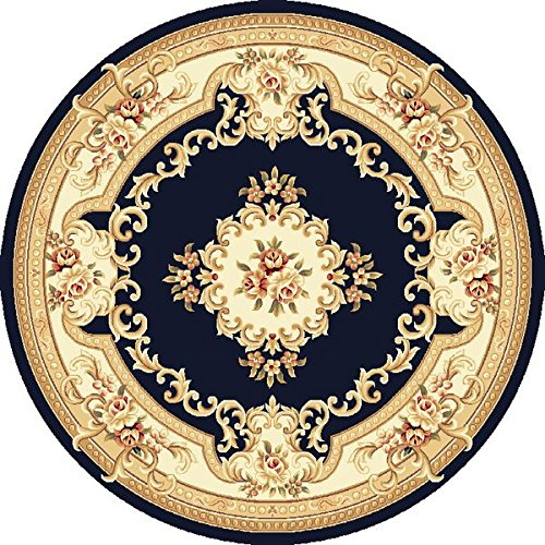 KAS Oriental Rugs Corinthian Collection Aubusson Round Area Rug, 7' x 7