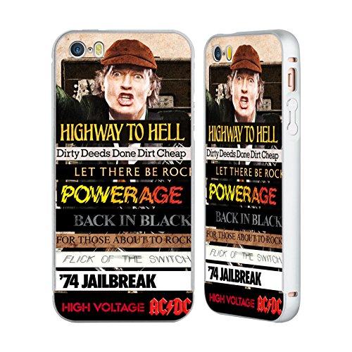 Officiel AC/DC ACDC Titres d'Album Collage Argent Étui Coque Aluminium Bumper Slider pour Apple iPhone 5 / 5s / SE
