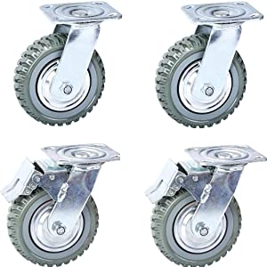 6 Inch Heavy Duty Caster No Noise Anti-Skid Plate Swivel Rubber Casters Wheels with 360 Degree Swivel Ball Bearing Top Plate Caster Wheels,Set of 4 Casters (2 with Brake Lock,2 Without Brake Lock)