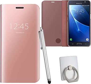 Guran® Mirror Efecto Espejo Funda para Samsung Galaxy J5 (2016 Version, 5.2 Pulgada) J510 Clear View Función de Soporte Plegable Smartphone Funda Protectora (Oro Rosa): Amazon.es: Electrónica