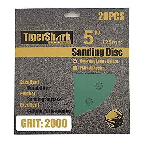 TigerShark 5 Inch Sanding Discs 8 Hole Wet Dry Grit 3000 20pcs Pack Special Anti Clog Coating Film Green Line Hook and Loop Dustless Random Orbital Sander Paper Ultra Fine TigerShark Co. Ltd