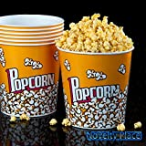 Set of 3 Fun Movie Theater Style Plastic Popcorn Tubs - 8