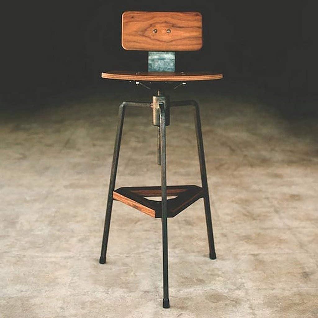 PLLP Sillas de comedor, taburetes, taburete industrial para el hogar, taburete para desayuno, barra de país, silla, hierro, madera maciza, antigua, barra antigua americana, trona.