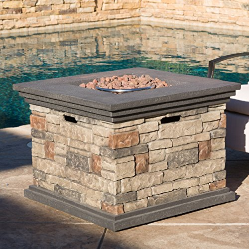 - Christopher Knight Home Crawford Outdoor Square Stone Fire Pit Table, 32-Inch Propane Gas Patio Heater with Lava Rocks