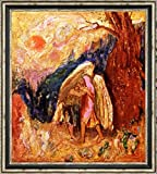 "Jacob Wrestling with the Angel by Odilon Redon - 15"" x 15"" Framed Canvas Art Print - Ready to Hang"