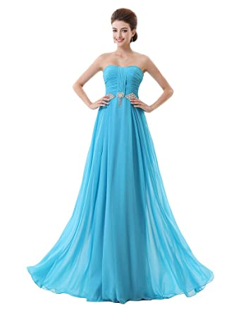 Lemai Womens Blue Sweetheart Crystals Long A Line Formal Evening Prom Dresses - Blue - 24