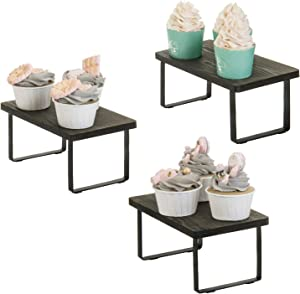 MyGift Vintage Gray Wood and Black Metal Mini Tabletop Retail Food Cupcake Display Riser Stands, Set of 3