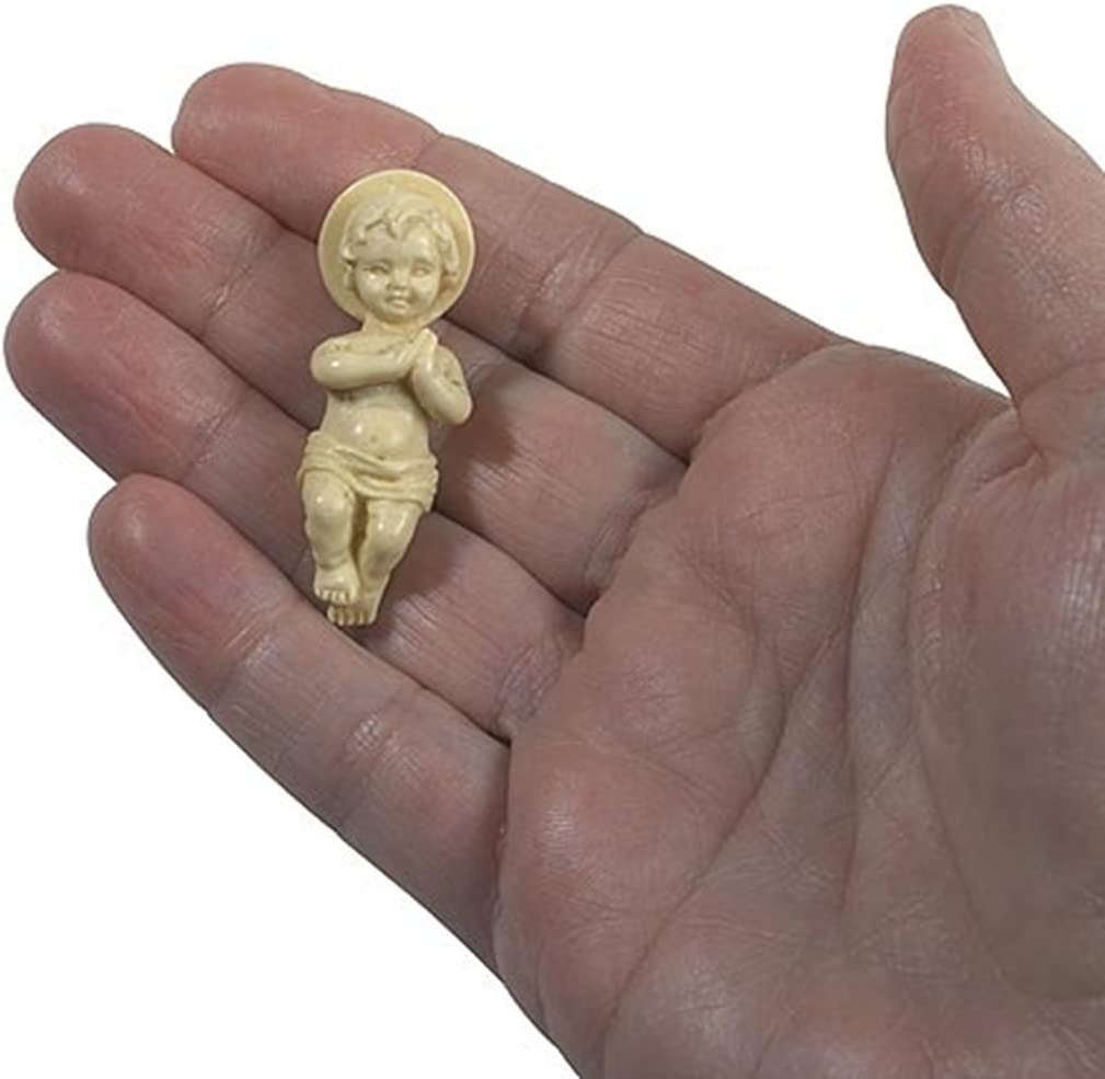 Religious Gifts Jesus Christ Child Figurine 1 3/4 Inch Plastic Baby for Nativity Set or Kings Cake, Pack of 3