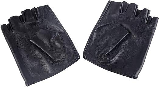 Real Leather Half Palm Short Gloves Black Genuine Sheepskin