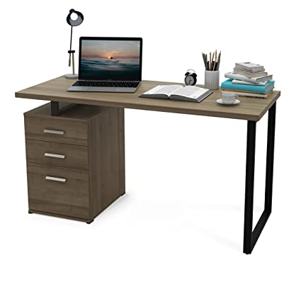 Beau DEVAISE Modern Computer Desk, 55.1u0026quot; Office Desk With Reversible File  Cabinet