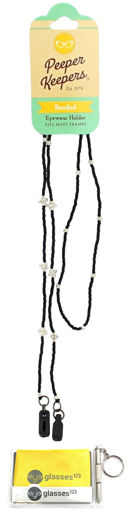 Eyeglass Retainer & Sunglass Holder By Peeper Keepers Classic Beads, Black Glass, 1pk | w/Microfiber Cloth & Screwdriver